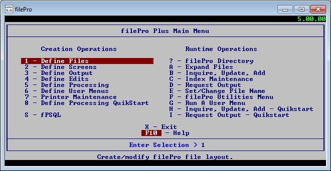 filePro Main Menu