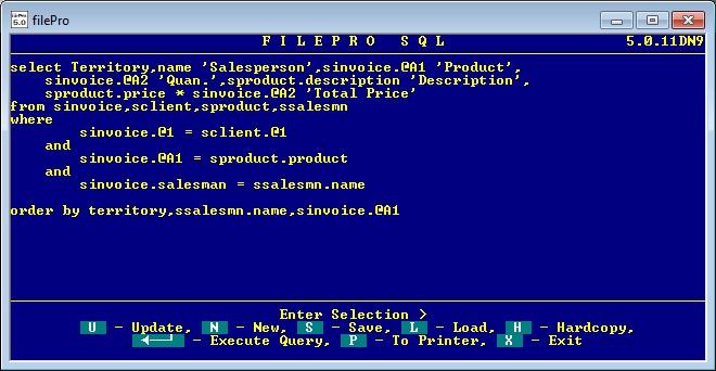 filePro fP SQL